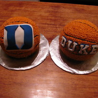 Duke Basketball Cakes  Cakes made for 2 ultimate Duke basketball fans who were celebrating their 40th birthday. I used the ball cake pan, covered with a star tip...