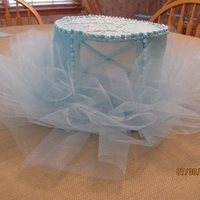 Blue Tutu Ballerina Cake   Inspired by CutiePieCustomCakesThree rounds covered in buttercream. Hot glue gun 2 cake boards and a roll of blue tulle make the tutu.