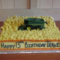John Deere Combine Cake  So easy! I used a grass tip for the wheat field and then flattened the tips with my finger to give an even consistency to the cut wheat....