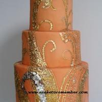 Gold Leaf Sequins Wedding Cake This was based on a vintage dress design, and was made with gold leaf and silver leaf wafer paper sequins. The gold trim is all gold leaf...
