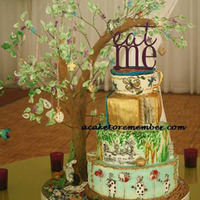 Alice In Wonderland Wedding Cake With Modelling Chocolate Tree And Wafer Paper Leaves Alice in Wonderland wedding cake with modelling chocolate tree and wafer paper leaves