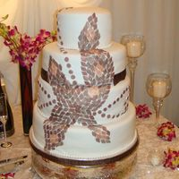 Mosaic With Shades Of Brown red velvet cake with mosaic design by the brides request. Designs are all fondant and each one hand paintedThanks for looking!
