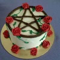 Sisterhood Pentacle Cake A cake I made for a Sisterhood day, it is a copy of their symbol. It's a lemon cream cake, very yum. Yes that's a Pentacle, and...