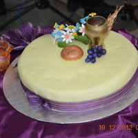 Traditional Fruit Cake With Marzipan And Fondant Icing Traditional fruit cake with marzipan and fondant icing.