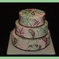 Pink And Green Paisley Baby shower cake