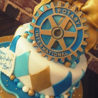 Birthday Cake For Rotary President   Fondant, Rotary logo was cut with cricut! LOVE that!