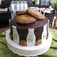 "Cookies And Milk Cake We had a ""vintage"" style birthday party for my daughter. Lots of old milk bottles, cookies in large jars. This cake is super..."