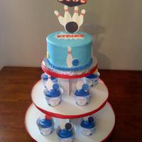Bowling Birthday Party I used my Cricut Cake to cut out all the bowling pins for the cake and cupcakes. I had just got the SCAL program and used it on these. I...
