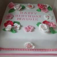 Pink And Flowery Cake This cake was for a ladies sister who loves the colour pink and flowers.