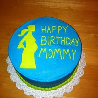 Birthday Cake Birthday cake for a new mom-to-be. Buttercream icing with marshmallow fondant cut-out. (Got the silhouette from the gallery.)