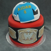 Soccer And Wrestling In One Cake