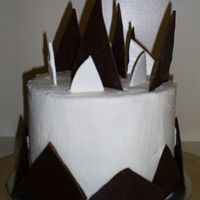 Chocolate Shard Cake   Cake with shards of dark & white chocolate.