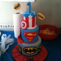 Superheros Superhero 1st birthdayCaptain America, Batman, Superman & Spiderman. 4 inch, 6 inch & 8 inch cakes.