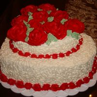 Roses & Lace I love to do this lace when I work with icing because it covers most of my mistakes!!! Mock whip cream frosting with BC roses. Thanks for...