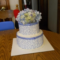 Bridal Shower Cake BC with silk flowers