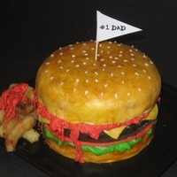 Hamburger For Dad Got the idea from CC artists! thanks! sponge painted MMF choc cake for the burger.any idea how to get ketchup color? TFL