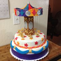 Swinging Carousel Cake That Spins Swinging Carousel Cake made with mostly fondant and gumpaste, a few dragees