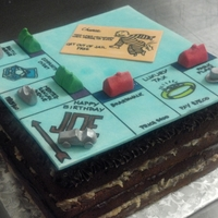 Monopoly Board Cake German chocolate cake with gum paste-fondant board and pieces