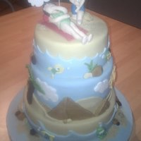 "Egptian Proposal 10, 8 and 6"" vanilla sponge with strawberry and cream filling. Engagement cake depicting the proposal on a beach in Egypt. Covered in..."