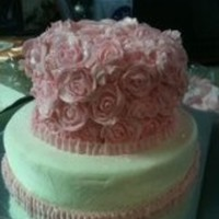 This Cake Is For A Wedding Shower Top Layer Is Vanilla Covered In Pink Butter Cream Roses The Bottom Layer Is Chocolate With White Butt This cake is for a wedding shower. Top layer is vanilla, covered in pink butter cream roses. The bottom layer is chocolate with white...