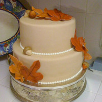 Fall Theme Cake All fondant decoration except the snail tail done in royal icing.