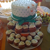 Baby Shower Cake And Cupcakes fondant covered cake with cupcake accents