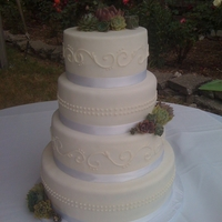 White Wedding fondant covered, real succulents