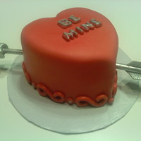 Heart Cake fondant with gumpaste arrow