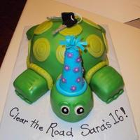 "Turtle Cake fondant turtle with gumpaste car keys (for a girl nicknamed ""Turtle"" turning 16)"