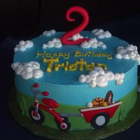 "Trike Cake Buttercream With Fondant Decorations And A Gumpaste 2 Trike cake - buttercream with fondant decorations and a gumpaste ""2"""
