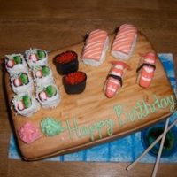 Sushi Cake I made this cake for my BIL birthday. He LOVES sushi! This has to be one of the most fun cakes I have done. I used rice crispie treats,...
