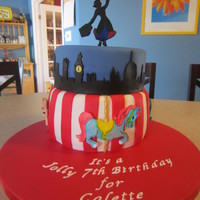 Mary Poppins Cake For my daughter's 7th birthday - bottom cake is chocolate fudge and top one is vanilla/confetti cake. All fondant accessories. TFL