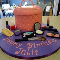 "A Make Up Bag Cake For My Niece My Request Was Something Girly And My Niece Likes Make Up And Such The Cake Is A Strawberry Orange Straw A make-up bag cake for my niece. My request was ""something girly"" and my niece likes make up and such. The cake is a strawberry-..."