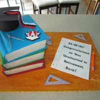 Retirement Book Cake The bottom book is Swiss chocolate, the middle book is red velvet, and the top book is vanilla cake. All fondant accessories. Barb is...