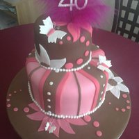 Flowers And Butterflies 40Th Cake