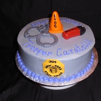 Ny State Trooper Academy Graduation Cake This was for a guy who just graduated from NYS Trooper Academy - all the elements were things he used/learned about while at the Academy....