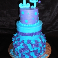 "Blue And Purple 14Th Birthday Used a ruffle technique I saw on here - cut 1"" circles out of fondant and then pinched in the middle to make a ruffle - then just..."