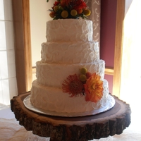 "Rustic Autumn Wedding 14, 12, 10, 8 inch rounds, buttercream frosted pumpkin spice cakes with cream cheese filling. Fresh flowers provided by bride really ""..."