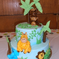 Jungle Baby Shower Customer provided a pic of this cake and I did my best to recreate! Buttercream frosted 10 and 7 in. rounds with fondant/gumpaste accents...