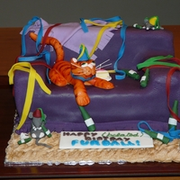 Partied Out Cat A belated birthday cake for a work colleague. Spelling error not noticed until cake given!