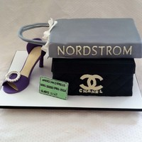 The Chanel Box Is Cake And The Nordstrom Bag Is A Big Rice Crispy Treat This Was My First Attempt At A Full Size High Heel Shoe And Im Pr The Chanel box is cake and the Nordstrom bag is a big rice crispy treat. This was my first attempt at a full size high heel shoe and I&#039...