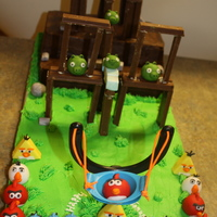 "Playable Angry Birds Cake This was a playable Angry Birds cake for my cousin's birthday. The ""walls"" were made from Kit Kats. The birds from fondant...."