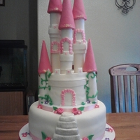 "Princess Castle Cake   This was for a sweet little four year old. Strawberry cake, 10"" and 6"" rounds. Based on DonnaMW's version"
