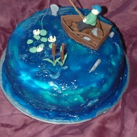 Fishing Cake Wanted to make a hole watercake, for a man who loves fishing!