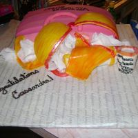 Bridal Shower Cake The theme was liquor, linens, and lingerie.. So this is what I came up with I wish that it had came out better cause I see things I do not...