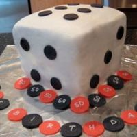 Dice Cake   BC with fondant accentspoker chips also made of fondant