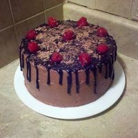 Chocolate Drizzled Raspberry Cake With Chocolate Shavings On Top Amp Raspberry Filling Inside Chocolate Drizzled Raspberry Cake with chocolate shavings on top & raspberry filling inside :)