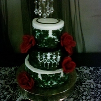 Black & White Damask & Chandelier Cake & Matching Cupcakes   I Made Everything, It Was Fun, What Does Everyone Think?