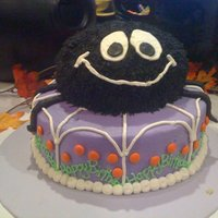 Halloween Birthday Cake Spider cake for a first birthday. Found inspiration from cake central but don't remember user's name. SO thank you!