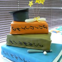 Graduation Books White chocolate cake with white chocolate fondant filled with BC. Fondant/gumpaste accents.